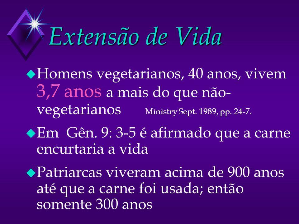 Extensão de Vida Homens vegetarianos, 40 anos, vivem 3,7 anos a mais do que não-vegetarianos Ministry Sept. 1989, pp. 24-7.