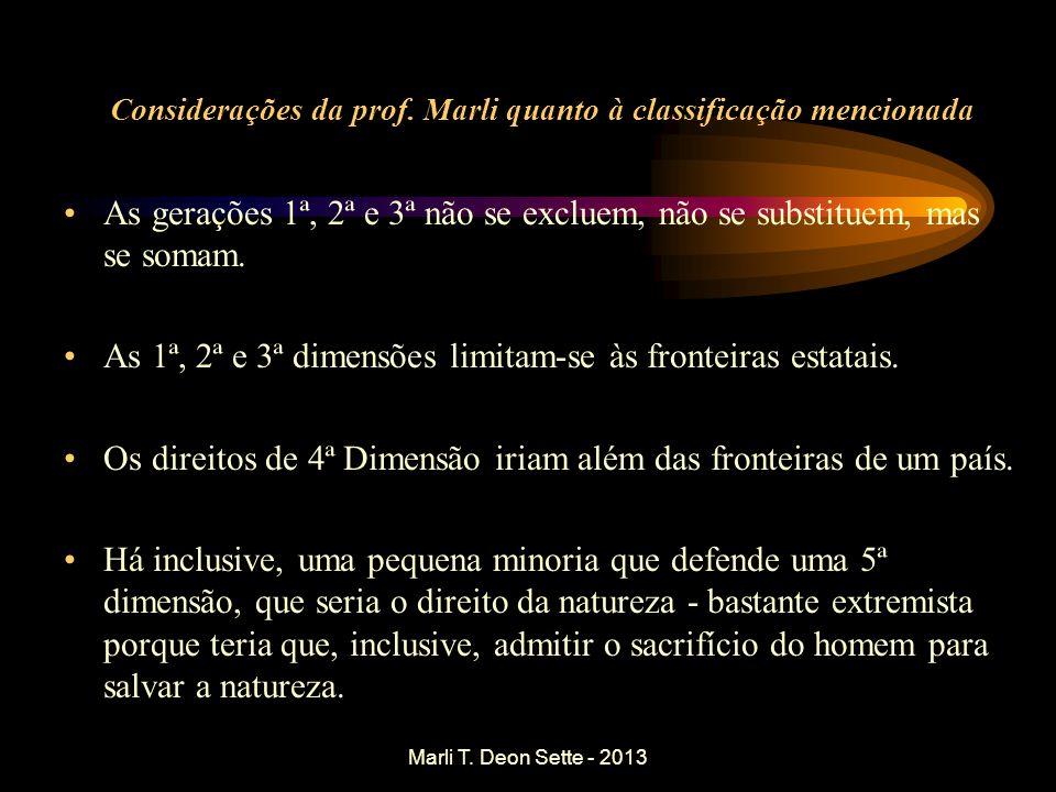 Considerações da prof. Marli quanto à classificação mencionada