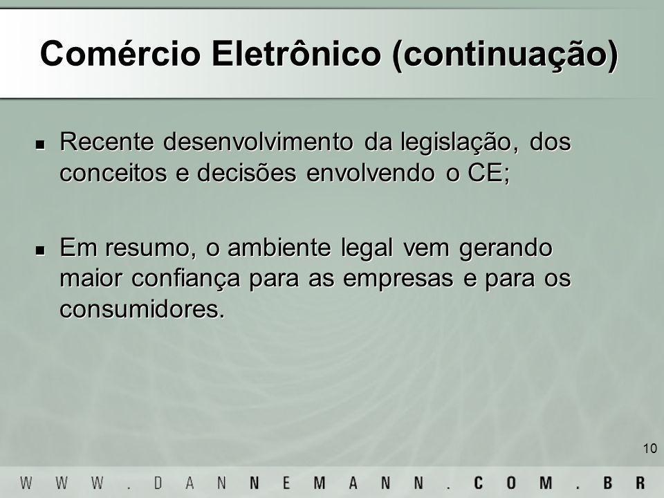 Comércio Eletrônico (continuação)