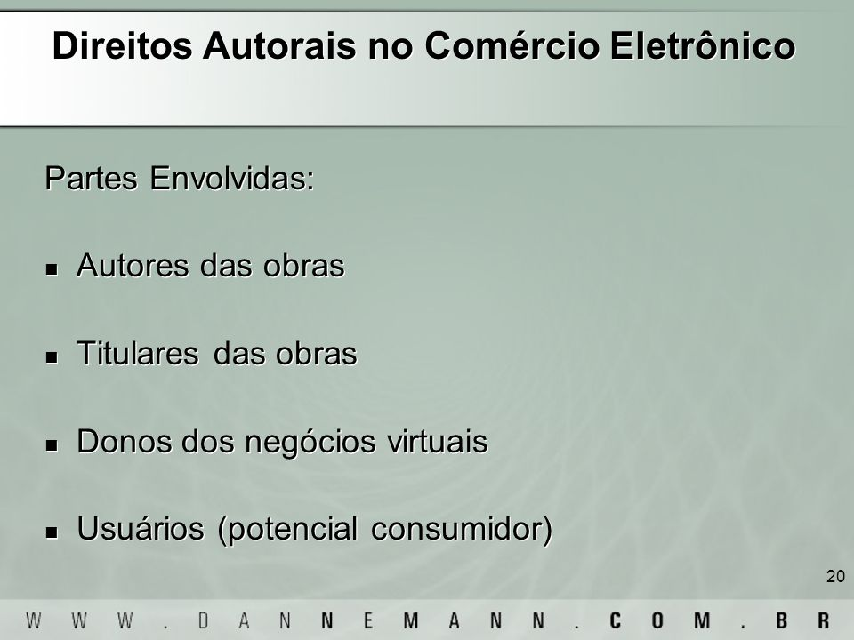 Direitos Autorais no Comércio Eletrônico