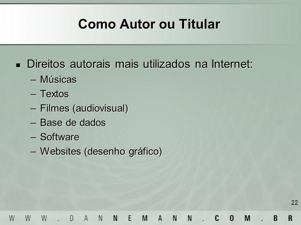Como Autor ou Titular Direitos autorais mais utilizados na Internet: