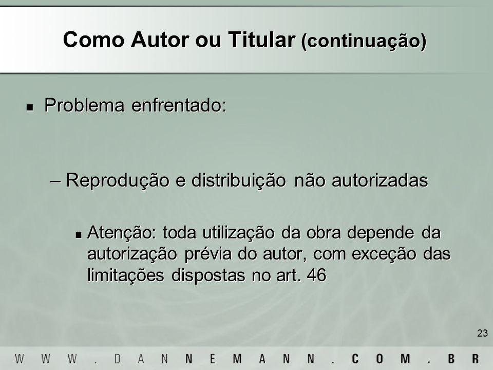 Como Autor ou Titular (continuação)