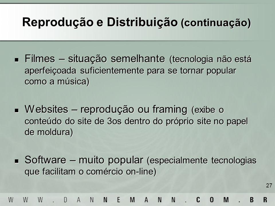 Reprodução e Distribuição (continuação)