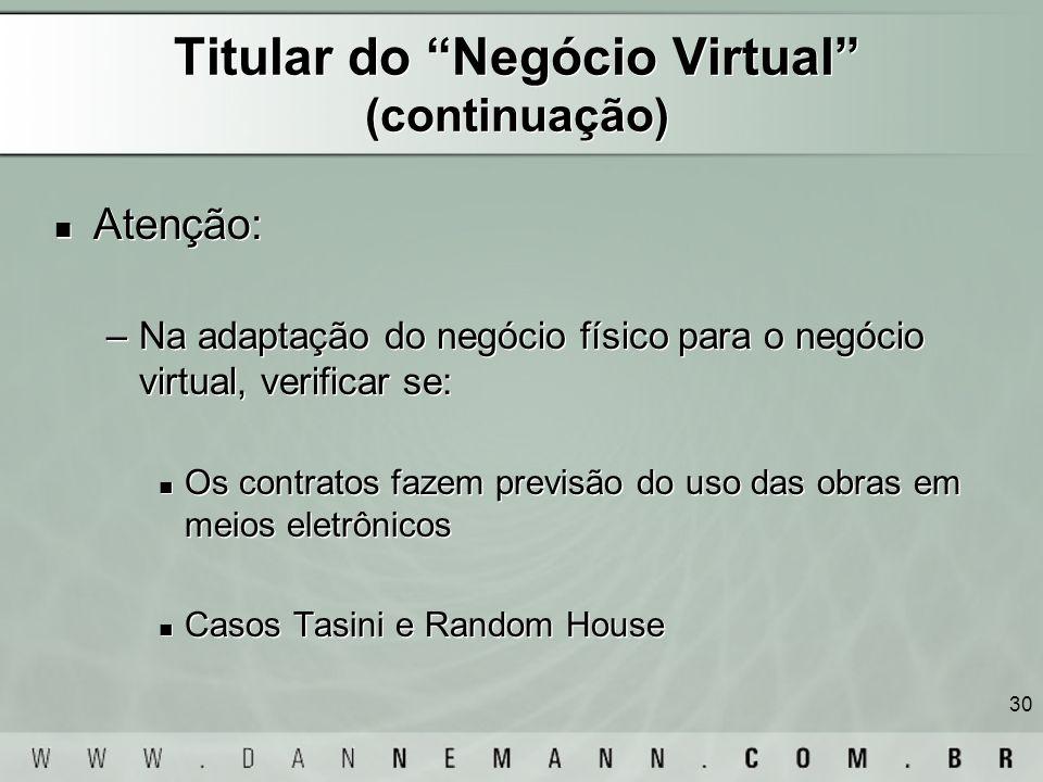 Titular do Negócio Virtual (continuação)