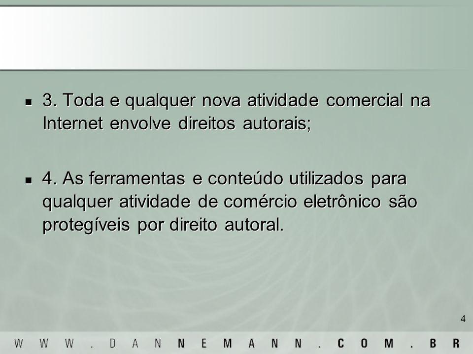 3. Toda e qualquer nova atividade comercial na Internet envolve direitos autorais;
