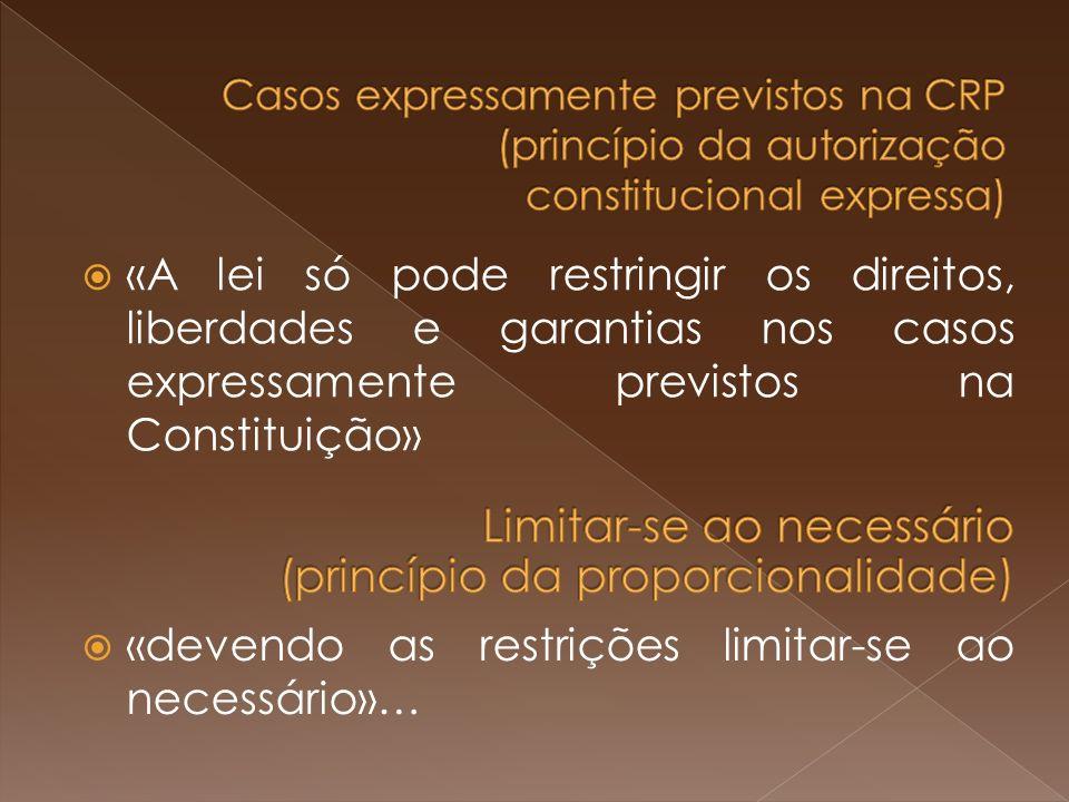Casos expressamente previstos na CRP (princípio da autorização constitucional expressa)
