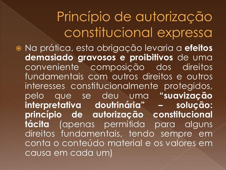 Princípio de autorização constitucional expressa