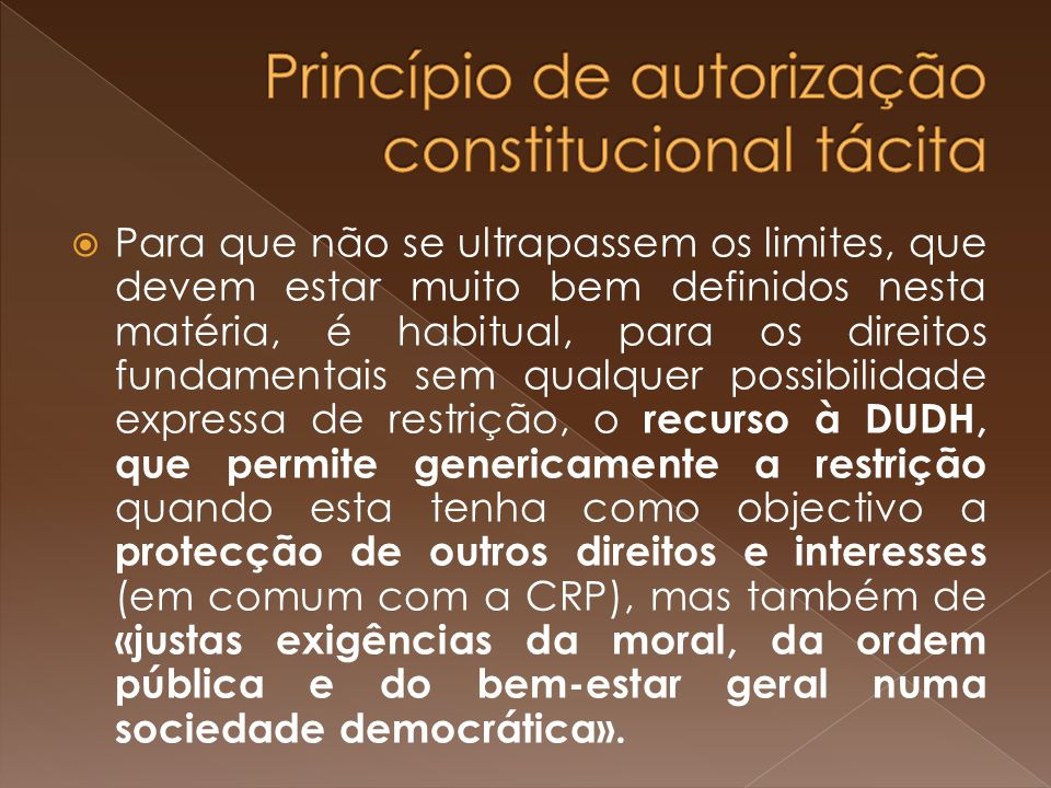 Princípio de autorização constitucional tácita