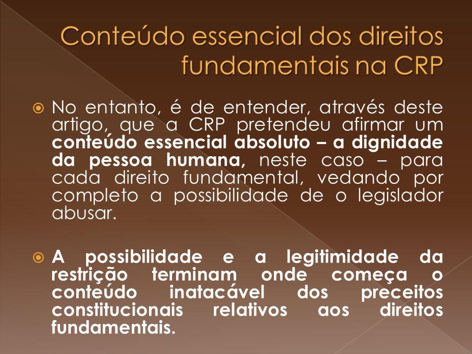 Conteúdo essencial dos direitos fundamentais na CRP