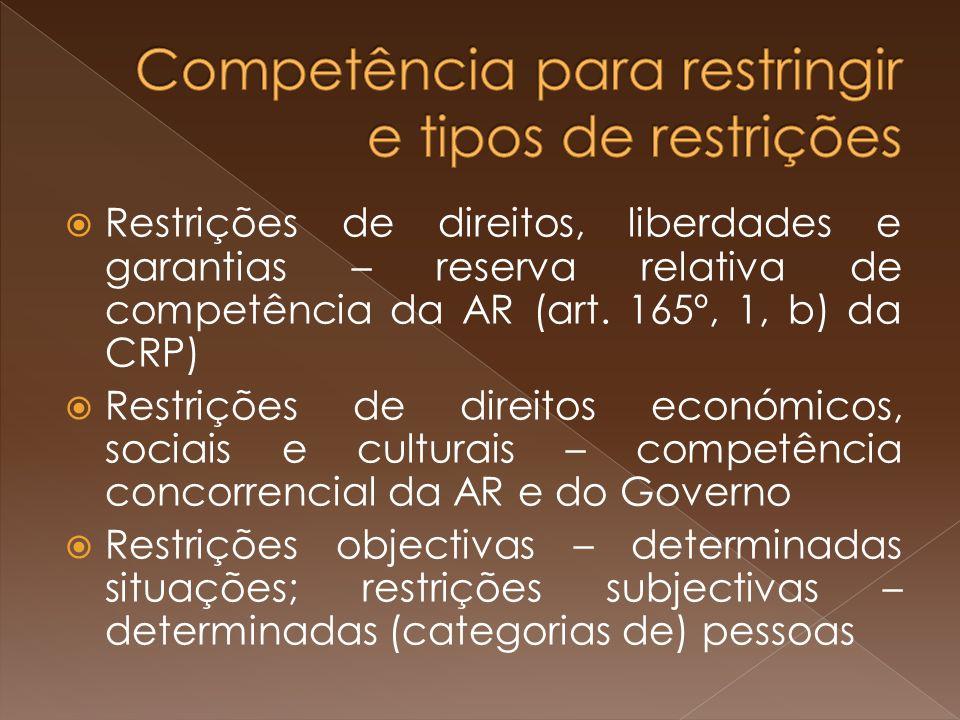 Competência para restringir e tipos de restrições