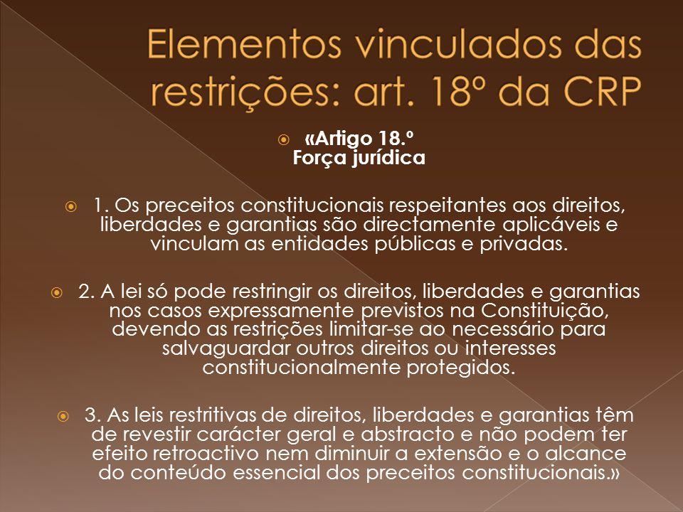 «Artigo 18.º Força jurídica