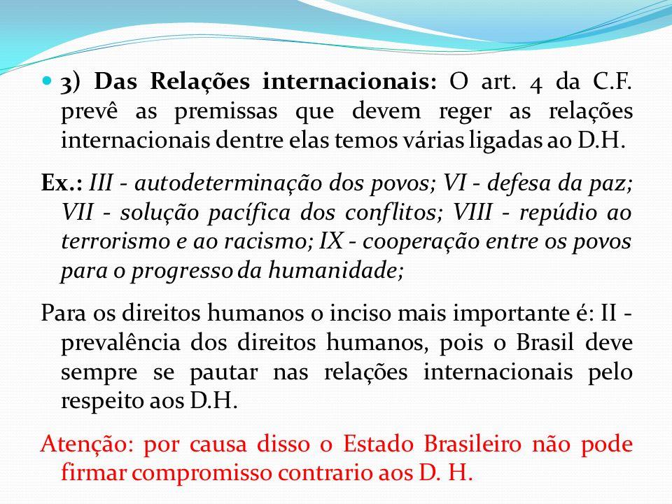 3) Das Relações internacionais: O art. 4 da C. F
