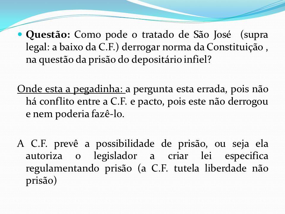 Questão: Como pode o tratado de São José (supra legal: a baixo da C. F