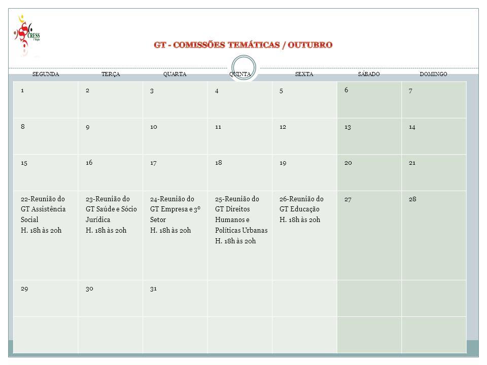 GT - COMISSÕES TEMÁTICAS / OUTUBRO