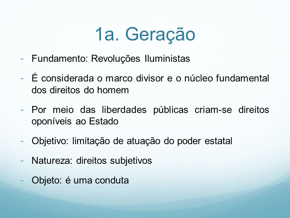 1a. Geração Fundamento: Revoluções Iluministas