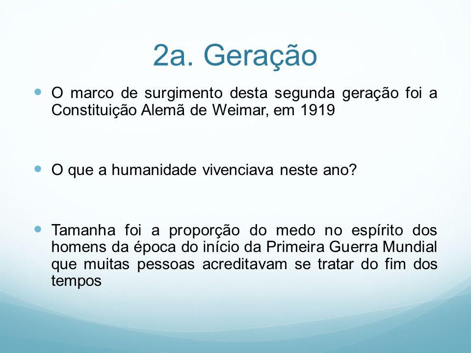 2a. Geração O marco de surgimento desta segunda geração foi a Constituição Alemã de Weimar, em 1919.