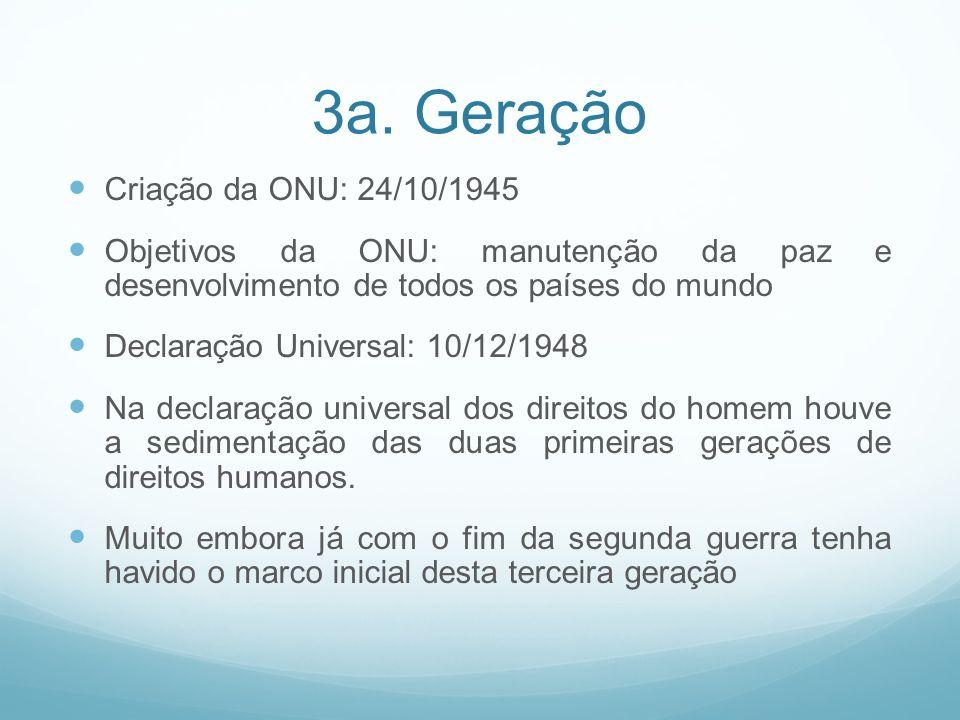 3a. Geração Criação da ONU: 24/10/1945