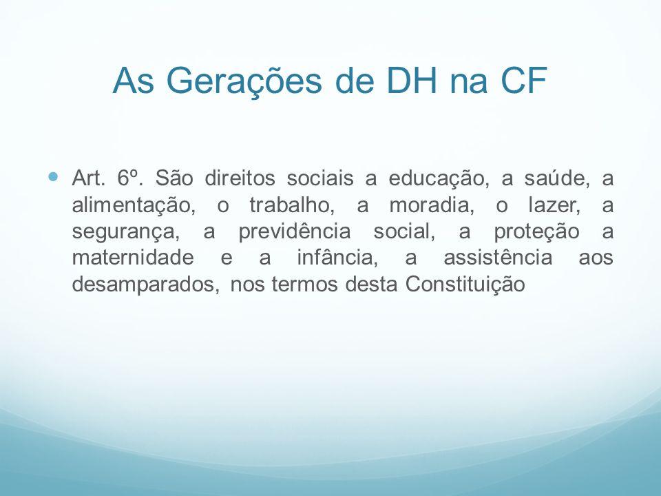 As Gerações de DH na CF