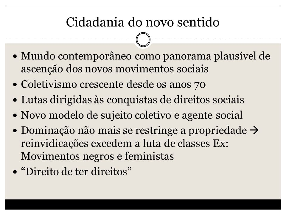 Cidadania do novo sentido