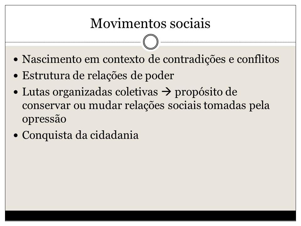 Movimentos sociais Nascimento em contexto de contradições e conflitos