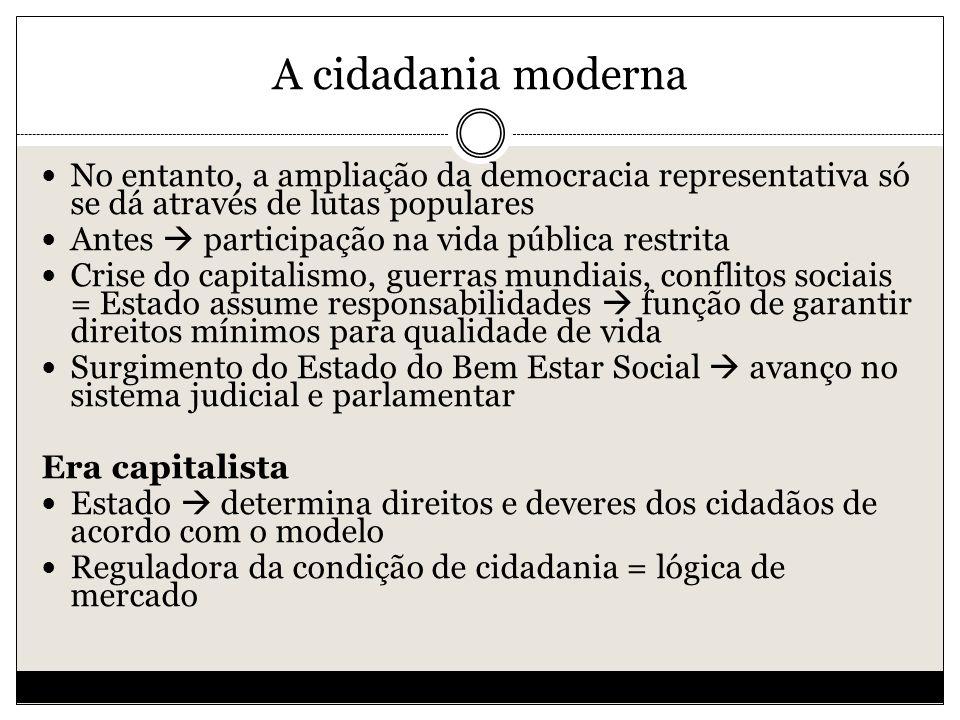 A cidadania moderna No entanto, a ampliação da democracia representativa só se dá através de lutas populares.