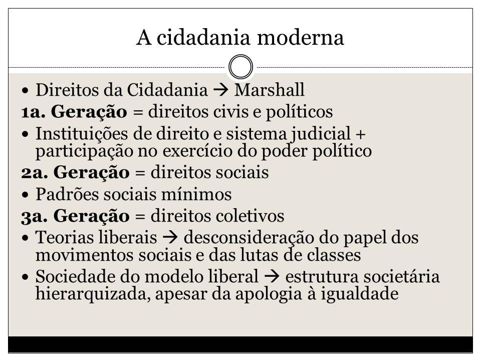 A cidadania moderna Direitos da Cidadania  Marshall