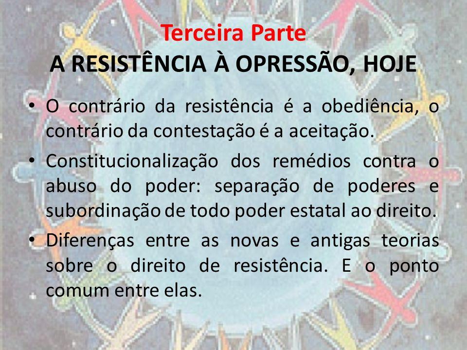 Terceira Parte A RESISTÊNCIA À OPRESSÃO, HOJE