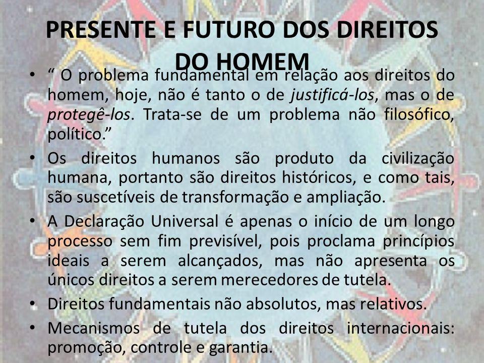 PRESENTE E FUTURO DOS DIREITOS DO HOMEM