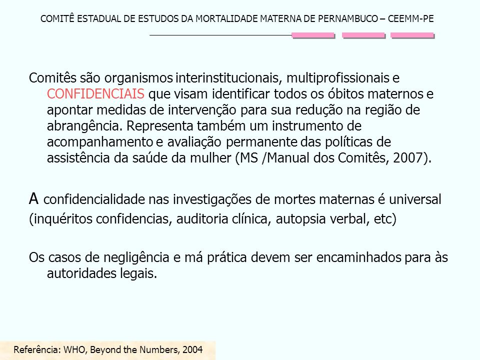 Referência: WHO, Beyond the Numbers, 2004