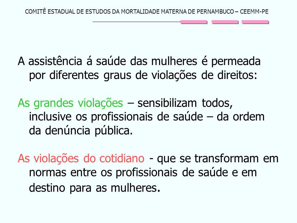 COMITÊ ESTADUAL DE ESTUDOS DA MORTALIDADE MATERNA DE PERNAMBUCO – CEEMM-PE