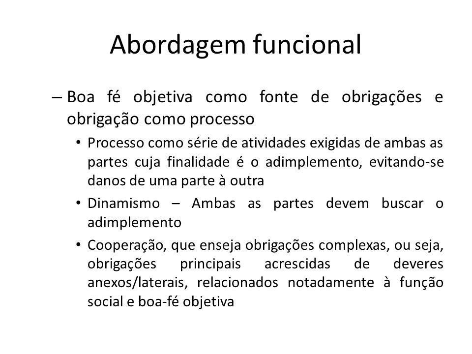 Abordagem funcional Boa fé objetiva como fonte de obrigações e obrigação como processo.