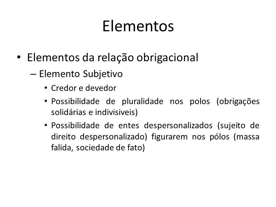 Elementos Elementos da relação obrigacional Elemento Subjetivo