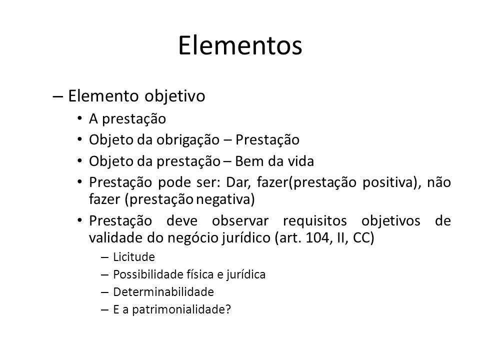 Elementos Elemento objetivo A prestação