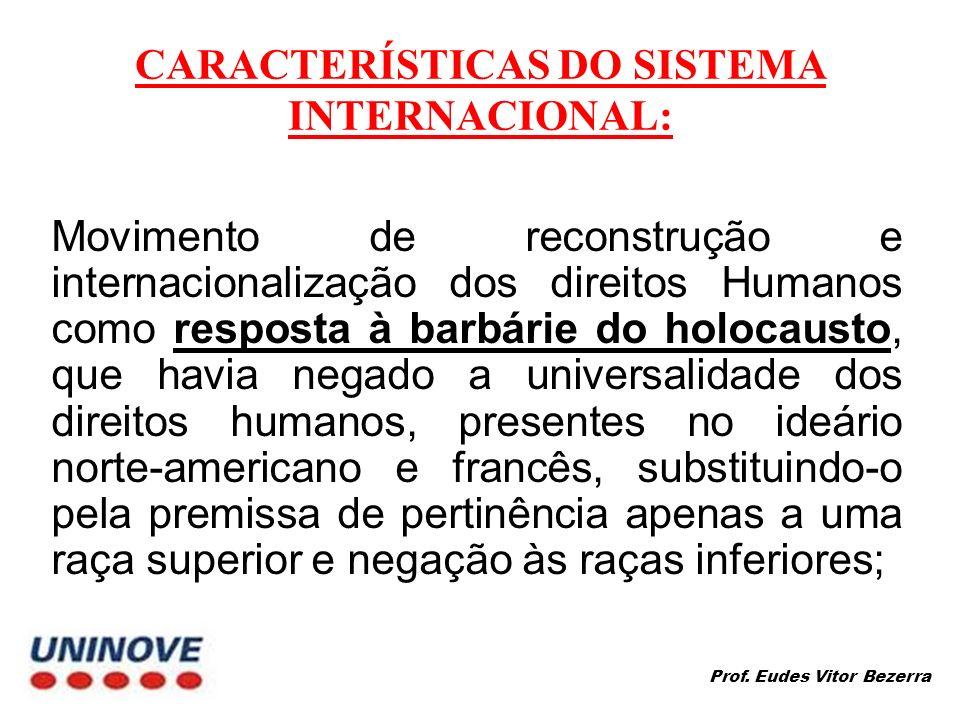 CARACTERÍSTICAS DO SISTEMA INTERNACIONAL: