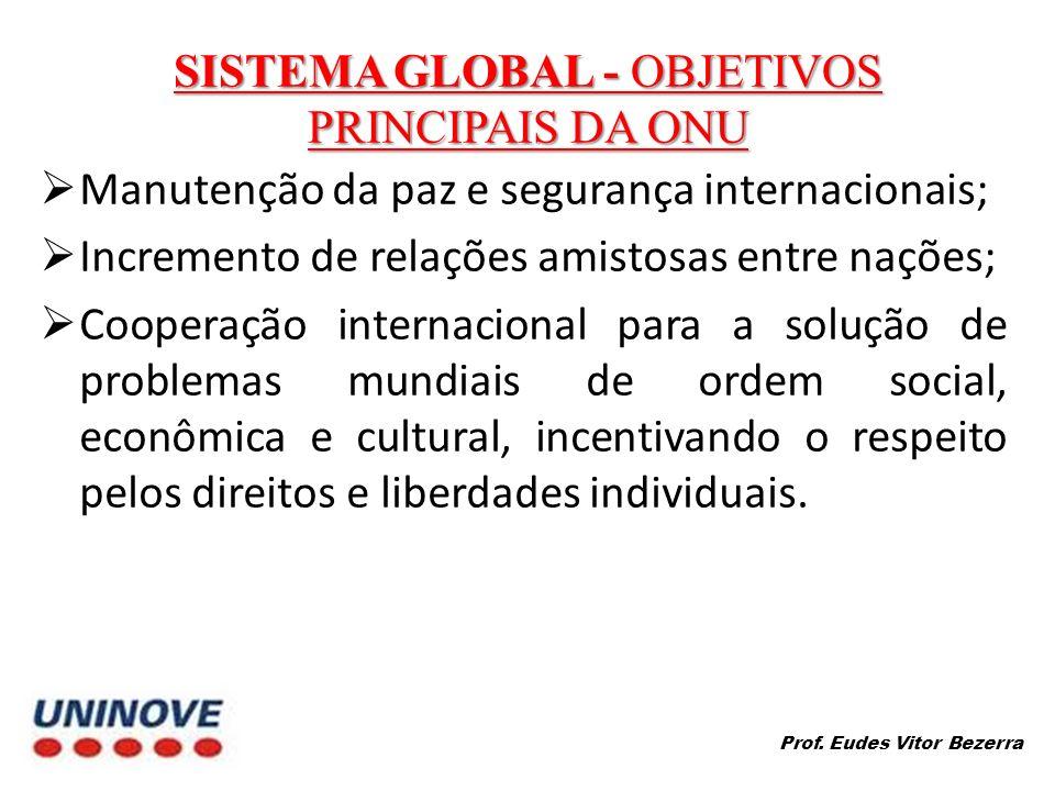 SISTEMA GLOBAL - OBJETIVOS PRINCIPAIS DA ONU