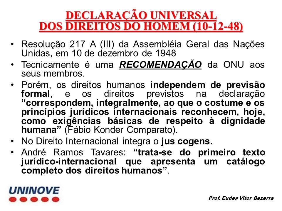 DECLARAÇÃO UNIVERSAL DOS DIREITOS DO HOMEM (10-12-48)