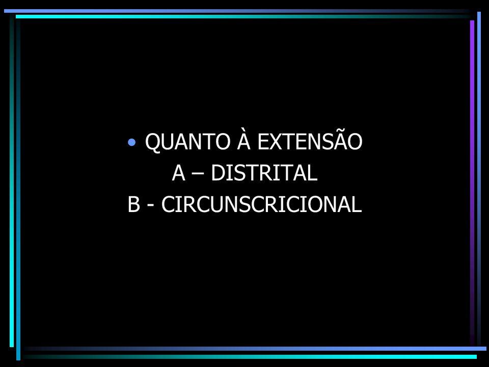 QUANTO À EXTENSÃO A – DISTRITAL B - CIRCUNSCRICIONAL