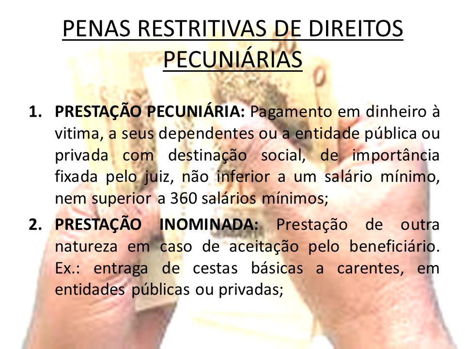 PENAS RESTRITIVAS DE DIREITOS PECUNIÁRIAS