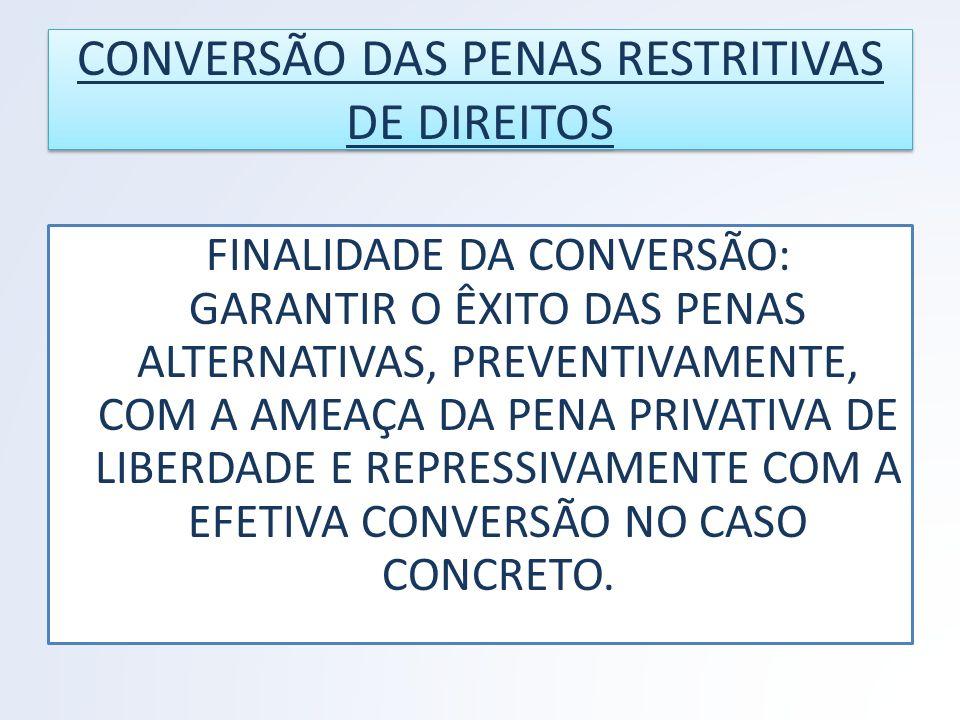 CONVERSÃO DAS PENAS RESTRITIVAS DE DIREITOS
