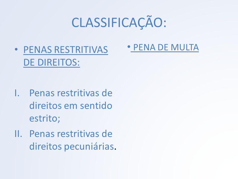 CLASSIFICAÇÃO: PENA DE MULTA PENAS RESTRITIVAS DE DIREITOS: