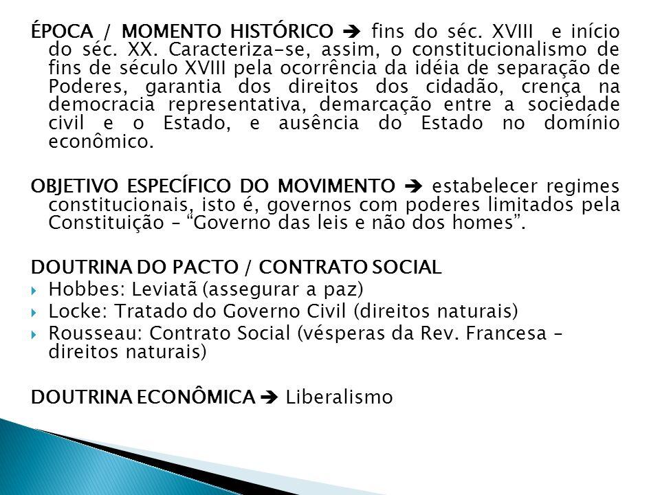 ÉPOCA / MOMENTO HISTÓRICO  fins do séc. XVIII e início do séc. XX