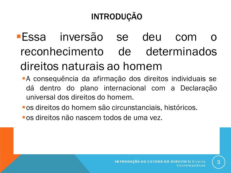 Introdução Essa inversão se deu com o reconhecimento de determinados direitos naturais ao homem.