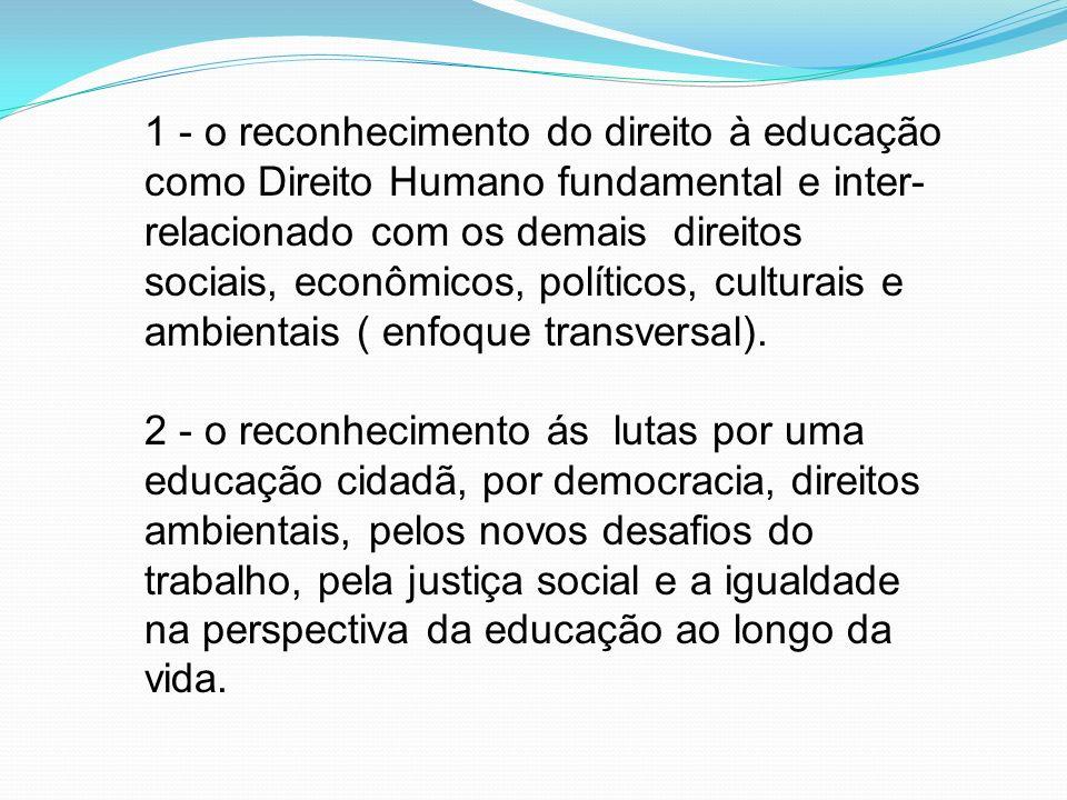 1 - o reconhecimento do direito à educação como Direito Humano fundamental e inter-relacionado com os demais direitos sociais, econômicos, políticos, culturais e ambientais ( enfoque transversal).