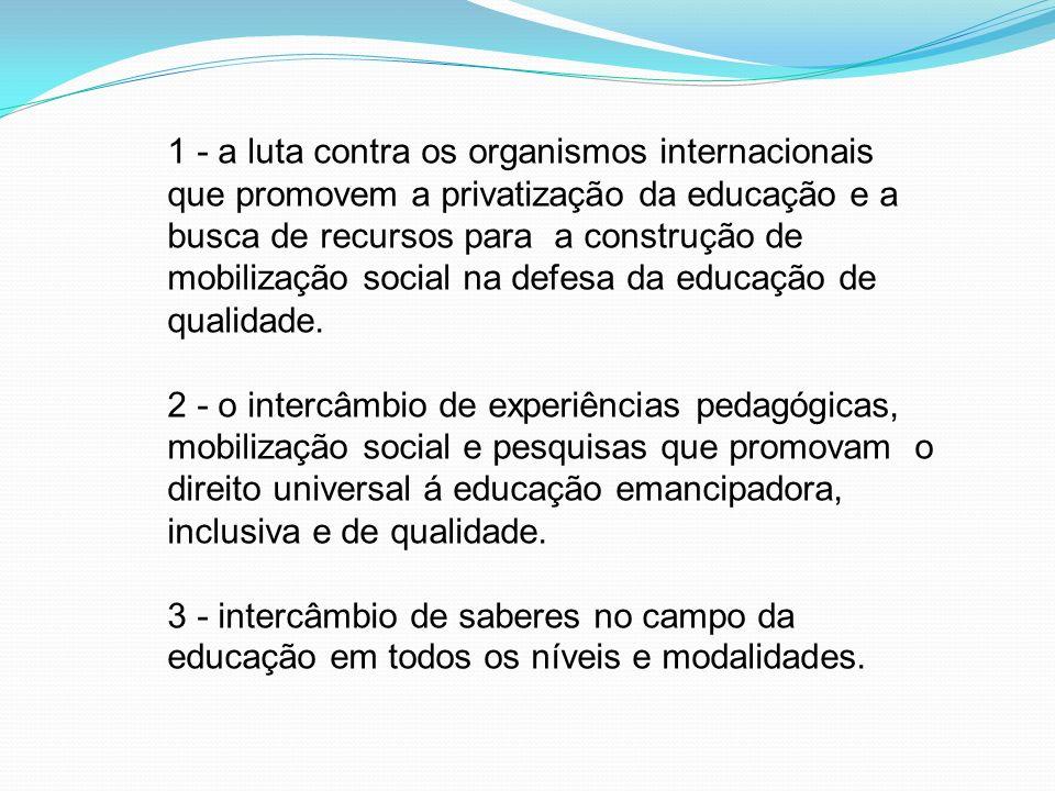1 - a luta contra os organismos internacionais que promovem a privatização da educação e a busca de recursos para a construção de mobilização social na defesa da educação de qualidade.