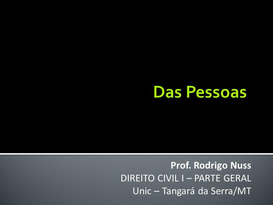 Das Pessoas Prof. Rodrigo Nuss DIREITO CIVIL I – PARTE GERAL