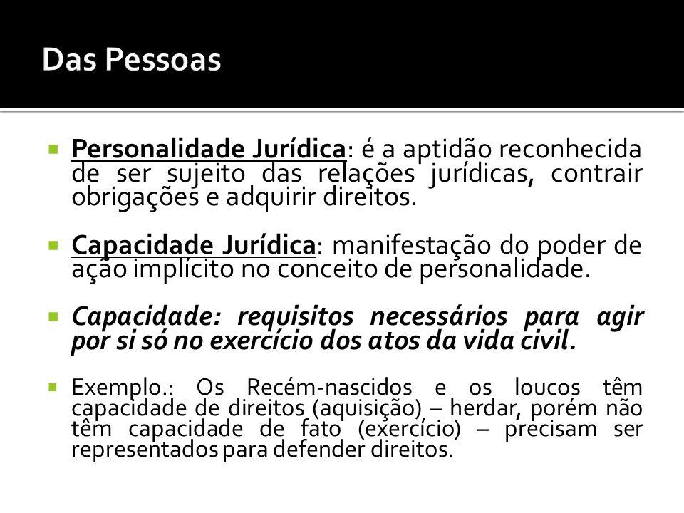 Das Pessoas Personalidade Jurídica: é a aptidão reconhecida de ser sujeito das relações jurídicas, contrair obrigações e adquirir direitos.
