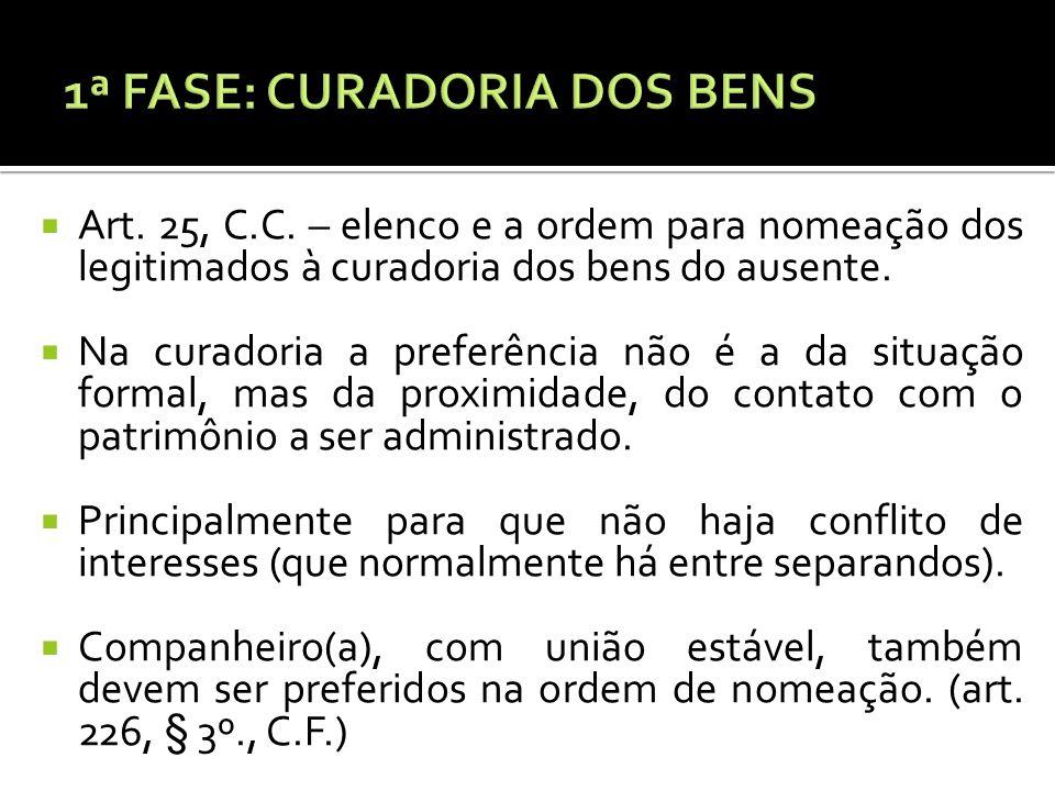 1ª FASE: CURADORIA DOS BENS