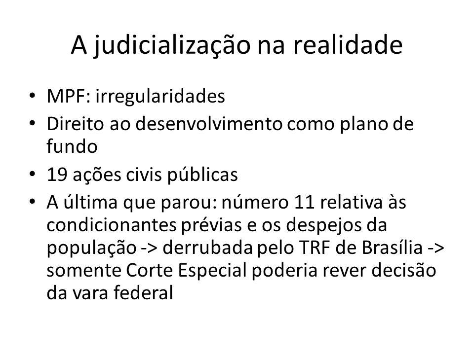 A judicialização na realidade