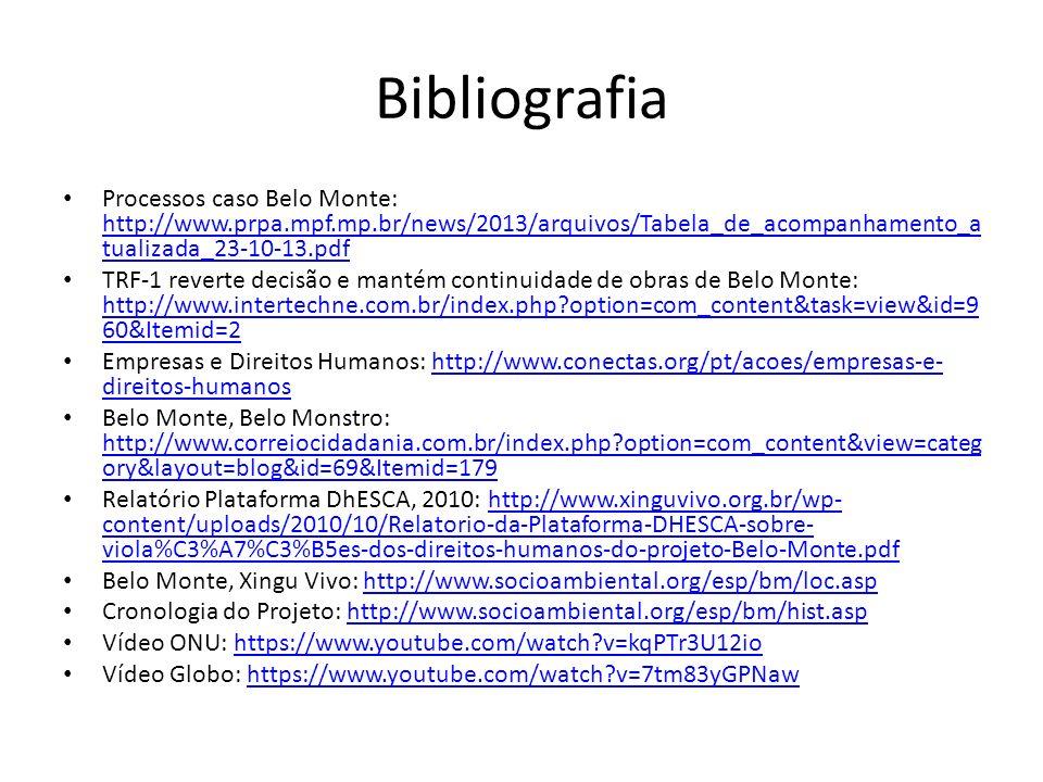Bibliografia Processos caso Belo Monte: http://www.prpa.mpf.mp.br/news/2013/arquivos/Tabela_de_acompanhamento_atualizada_23-10-13.pdf.