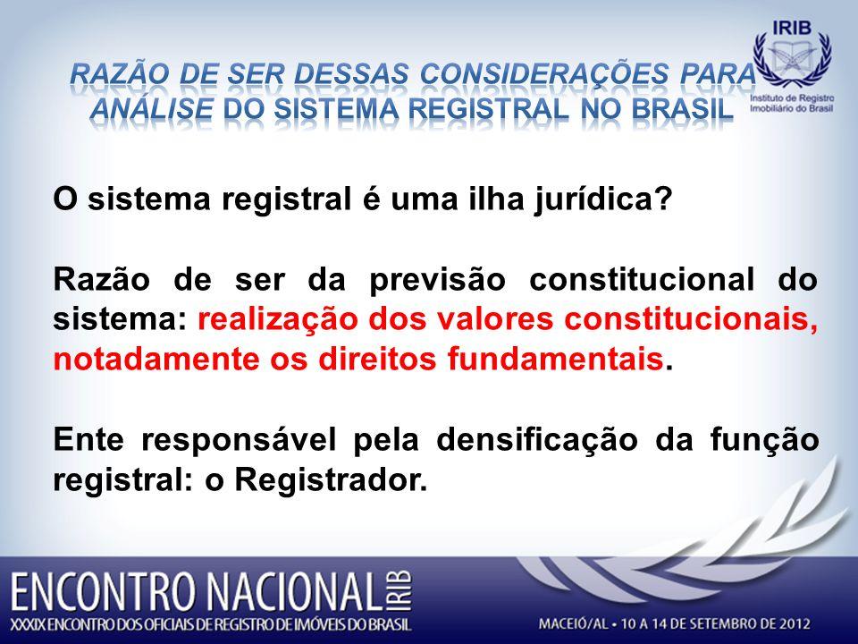 O sistema registral é uma ilha jurídica